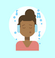 african american female listening music emotion vector image