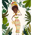 african woman in tropical jungle vector image