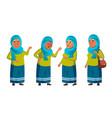 arab muslim old woman poses set elderly vector image vector image