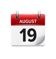 August 19 flat daily calendar icon Date vector image vector image