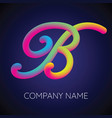 b letter logo icon blending color vector image vector image