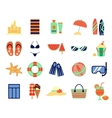 Beach summer vacation flat icons vector image vector image