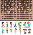 big library book shelf and children-readers set vector image vector image