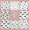 black and white hand drawn set of 8 vector image