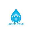 blue water drop home logo design vector image
