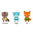 Cartoon characters or set of animals vector image