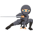 cartoon ninja holding a sword vector image vector image