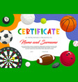 certificate participation in sports tournament vector image