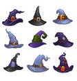 collection of cartoon witch hats for your vector image vector image