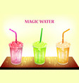 color banner - three magic water on table glass vector image vector image