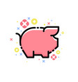 cute pink pig and decorative elements isolated vector image