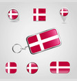 denmark country flag on keychain and map pin vector image vector image