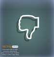 Dislike icon symbol on the blue-green abstract vector image