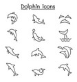 dolphin icon set in thin line style vector image