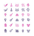 event party birthday festive icons set vector image