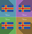 Flags Aland Set of colors flat design and long vector image