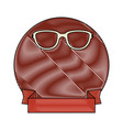 frame with decorative ribbon and glasses icon vector image vector image
