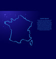 france map from contour blue brush lines and vector image vector image