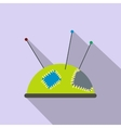 Green pincushion with pins flat icon vector image vector image