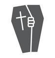 halloween coffin glyph icon death and funeral vector image vector image