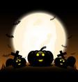 halloween pumpkins under the moonlight vector image vector image