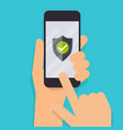 hand holding mobile smart phone with green shield vector image vector image
