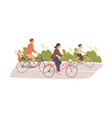 happy and healthy family with kids cycling vector image vector image