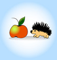 hedgehog and apple hand vector image