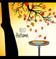 hello autumn with a cup of hot drink on the table vector image vector image