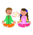 hippie couple in zen pose vector image vector image