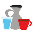 jar canteen with cup beverage and water glass vector image