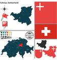 Map of Schwyz vector image vector image