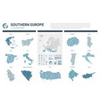 maps set high detailed 13 maps of southern europe vector image
