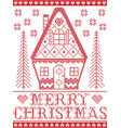 merry christmas nordic gingerbread house pattern vector image vector image