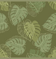 monstera leaf seamless pattern vector image vector image