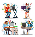 multiple tasks business concept set person vector image