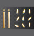 realistic candle burn set night and holiday vector image vector image