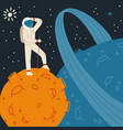 red planet with astronaut space tourism concept vector image