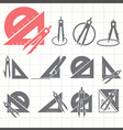 School drawing tools icons set vector image