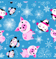 seamless christmas pattern piglets and penguins vector image vector image