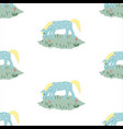 seamless pattern with funny hand drawn blue horse vector image vector image
