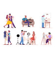 set dancers artist guitar player tailor baker vector image vector image