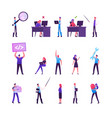 set male and female business characters working vector image vector image