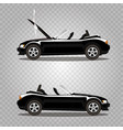 set of broken cartoon black cabriolet sport car vector image