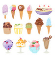 set of different ice cream isolatedon white vector image vector image