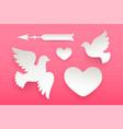 set paper objects heart pigeon bird arrow vector image