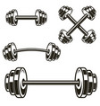set powerlifting barbells isolated on white vector image