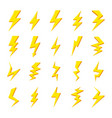 set yellow lightning bolt icons images vector image vector image
