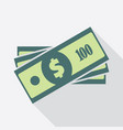 stack one hundred dollars banknotes icon vector image