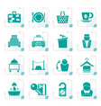 stylized hotel and motel services icons vector image vector image